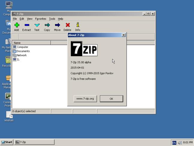 Imagen de ReactOS corriendo 7zip.